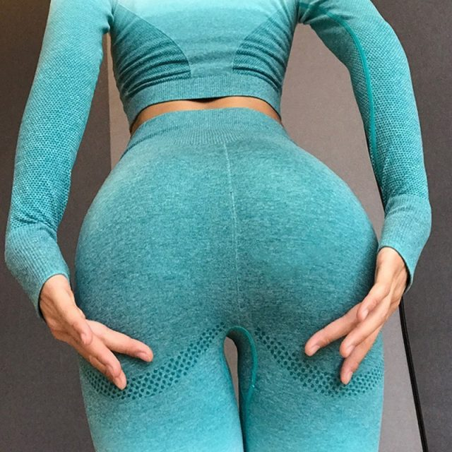 High Waist Ombre Seamless Leggings Push Up Elastic Yoga Pants Workout Gym Leggings Fitness Women Running Sport Pants Sports Wear