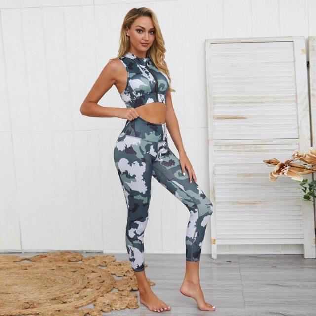 Yoga Set Gym Clothing Fitness Women Camo Workout Set Zipper Sport Suit Women Tracksuit High Waist Gym Leggings Padded Sports Bra
