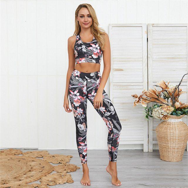 2 Piece Set Women Yoga Set Gym Clothing Floral Workout Set Fitness Women Sport Suit Jogging Workout Clothes For Women Sportswear