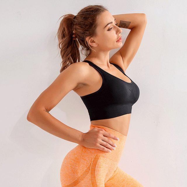 High Impact Sports Bra Seamless Yoga Bra Gym Push Up Brassiere Sport Femme Sport Bra Top Fitness Women Adjustable Seamless Top