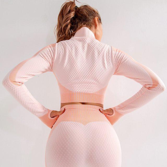 Yoga Top Long Sleeve Sport Top Fitness Women Sport Shirt Zipper Seamless Gym Top Workout Running Yoga Shirt Sport Jersey Women