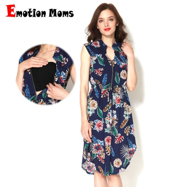 Emotion Moms Summer Style Sleeveless Feather Pattern Maternity Nursing Clothes Women Breastfeeding Dress