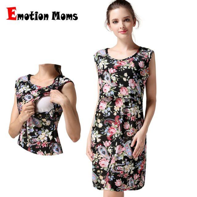 Emotion Moms Sleeveless Maternity clothing Nursing Breastfeeding dress pregnancy Clothes for Pregnant Women Maternity dress