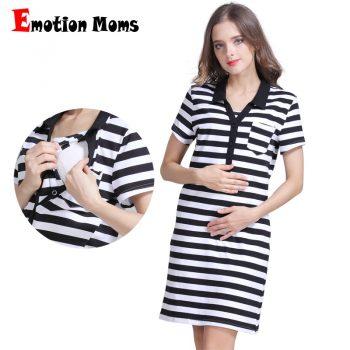 Emotion Moms Summer Maternity dress pregnancy clothes Striped Breastfeeding Dresses for Pregnant Women Skirt nursing dress