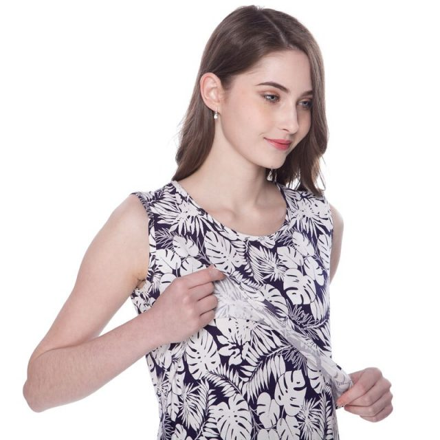 NEW Summer Maternity Clothing Sleeveless Breastfeeding Nursing Dress Floral Lactancia Dresses for Pregnant Woman BIG SIZE