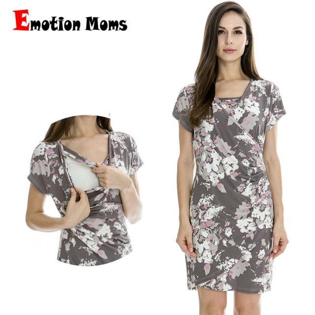 Emotion Moms Fashion Maternity Clothes Summer Nursing Breastfeeding Dresses for Pregnant Women Maternity Dress feeding Clothes