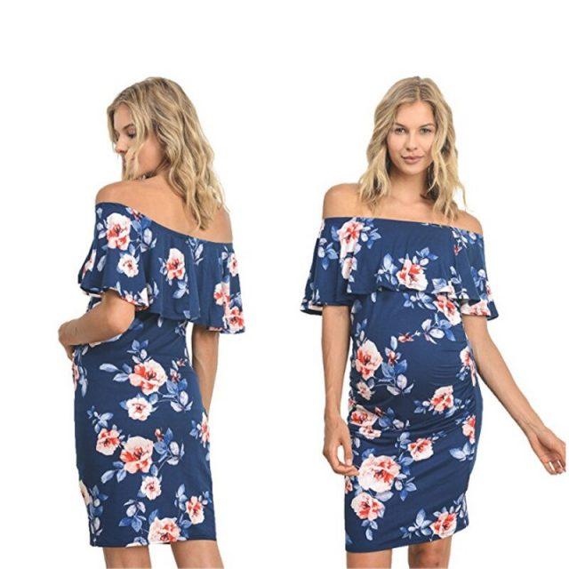 Emotion Moms Maternity Dresses Off Shoulder Pregnancy Dresses Floral Women Dress Summer Pregnant Dress For Pregnant Women