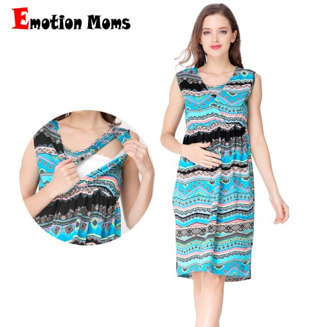 Emotion Moms V-Neck Summer Maternity Clothes nursing Breastfeeding Dresses Pregnancy Dress for Pregnant Women Maternity Dress