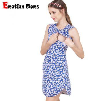 Emotion Moms Summer Flower Nursing Dress for Pregnancy Woman Cotton Sleeveless Maternity Dress Clothing Breastfeeding Dress
