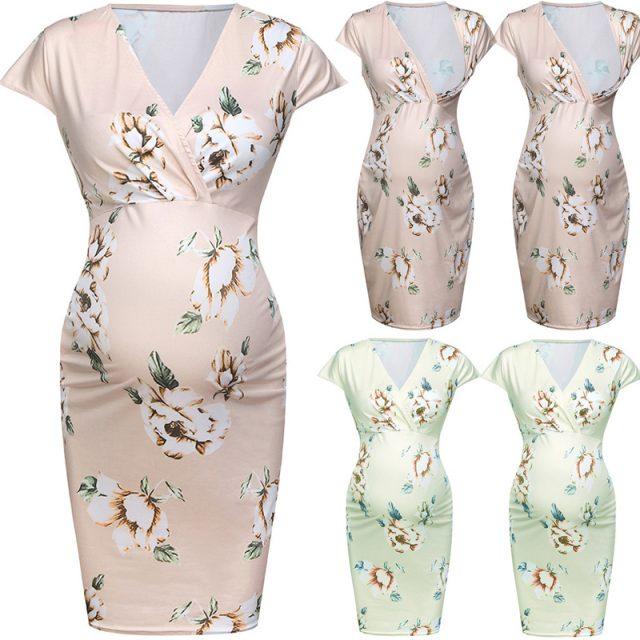Emotion Moms Women Pregnancy Dress Deep V Neck Maternity Summer Floral Pregnant Wear Fashion Dresses