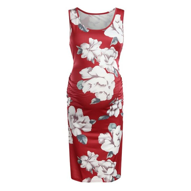 Wholesale Maternity Dresses Pregnancy Clothes Floral Style Ruching Abdominal Scoop Neck Pregnant Women Clothing