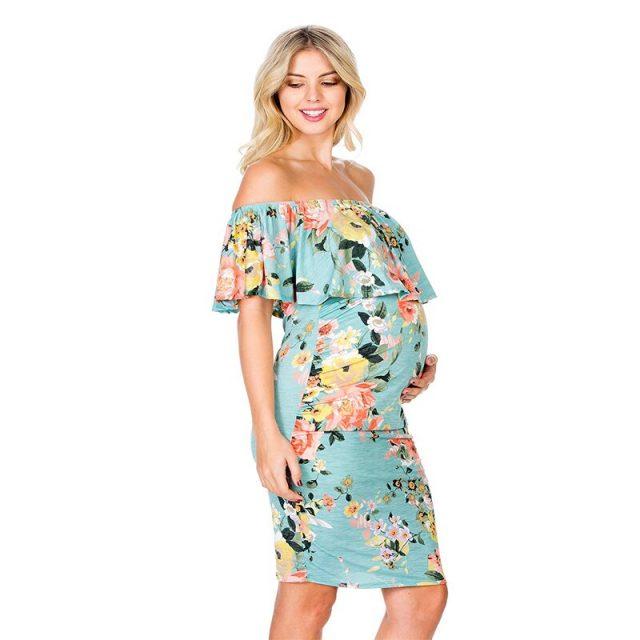 Emotion Moms Maternity Dresses Off Shoulder Pregnancy Dresses Floral Women Dress Summer Pregnant Dress