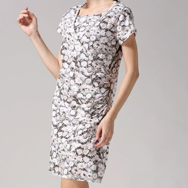 Emotion Moms Flower Nursing Dress Breastfeeding Dresses Short Sleeve Summer Maternity Clothing CLEARANCE PRICE