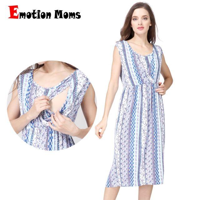 Emotion Moms V-Neck Maternity clothing Breastfeeding Dresses Summer Causal nursing Dress Pregnancy Dress for Pregnant Women