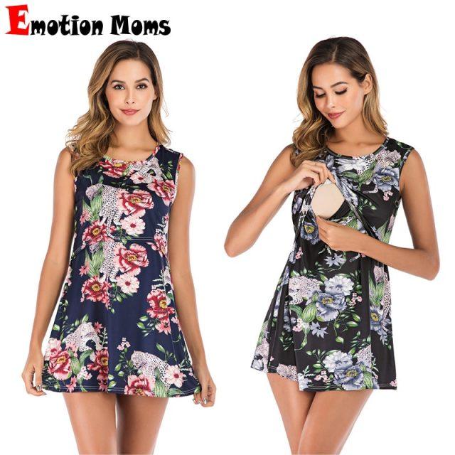 Fashion  Summer Maternity Dresses Nursing Flower Printing  Clothing Clothes Adult Friendly Feeding Dress Nursing Wear