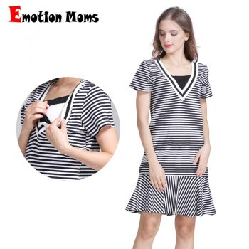 Emotion Moms Strecth Cotton Striped Maternity clothes pregnancy dresses Nursing Breastfeeding Dress Maternidad Wear
