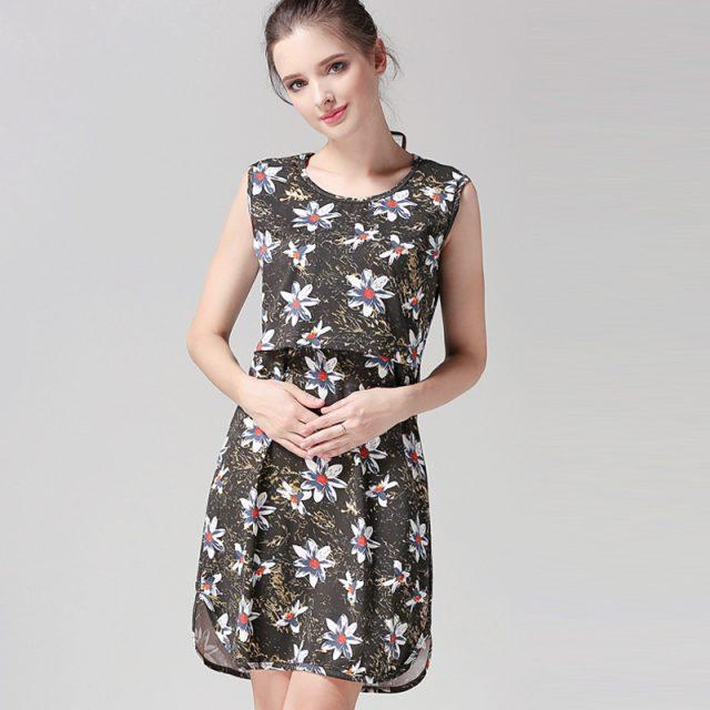 Emotion Moms Sleeveless Floral Maternity Nursing Dress Pregnancy Short Dress For Pregnant Women Breastfeeding Dress summer style