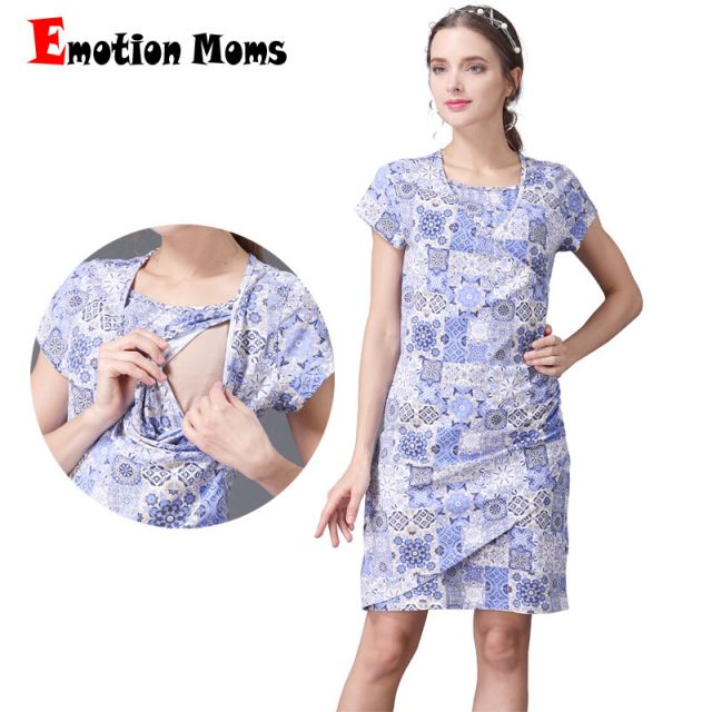 Emotion Moms Short Sleeve Summer Maternity Dress Printed Cotton Lactancia Nursing Breastfeeding Dresses CLEARANCE PRICE