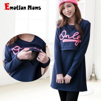 Emotion Moms Cotton maternity clothing Fabric Fashion Maternity Dresses Breastfeeding Dress Nursing Clothes for pregnant women