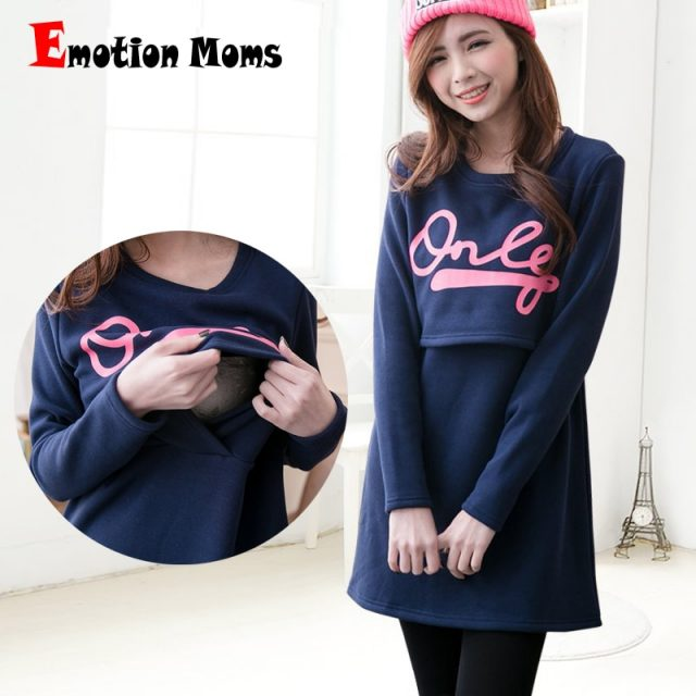 Emotion Moms Cotton maternity clothing Fabric Fashion Maternity Dresses Breastfeeding Dress Nursing Clothes for pregnant women