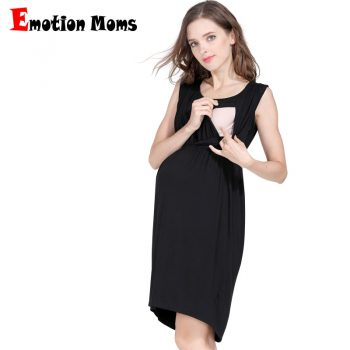 Emotion Moms Maternity Nursing Breastfeeding Dress for Pregnant Women Pregnancy Women's dress Sleeveless Mother Home Clothes