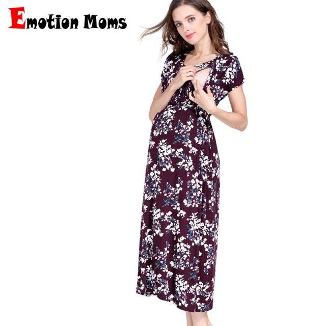 Emotion Moms Floral Maternity Nursing Dress For Pregnant Women Gravidez Soft Pregnancy Breastfeeding Dress Maternity Clothing
