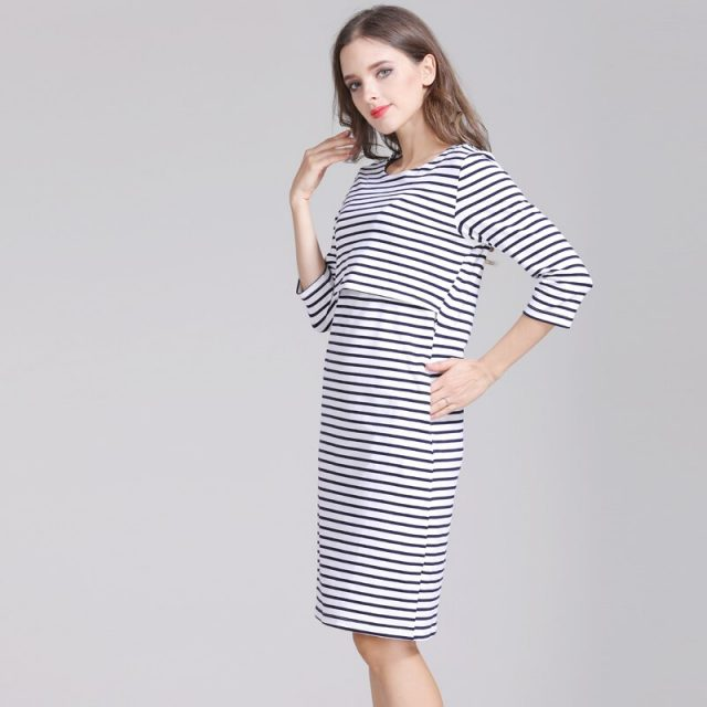 Emotion Moms Cotton Striped Pregnancy Nursing Dress for pregnant Woman Maternity Dress Breastfeeding Dress Summer Spring Skirt