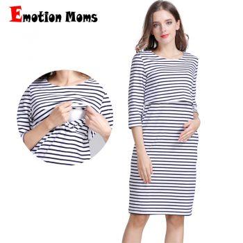 Emotion Moms Cotton Striped Pregnancy Nursing Dress for pregnant Woman Maternity Dress Breastfeeding Dress Summer Spring Skirt