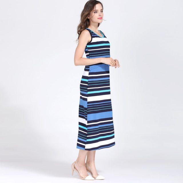 Emotion Moms Sleeveless Maternity Dress Summer Long Striped Breastfeeding Dresses Cotton Nursing Dress for Pregnancy Woman