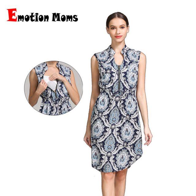 Emotion Moms Summer Style Sleeveless Feather Pattern Maternity Nursing Clothes Women Breastfeeding Dress