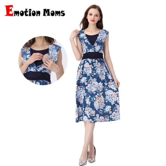 Emotion Moms Summer Maternity Clothes Nursing Pregnant Dress Breastfeeding Nursing Clothes  Maternity Dresses For Pregnant Women