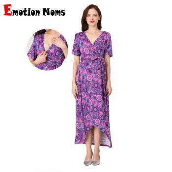 Emotion Moms Women High-Low Surplice Wrap with Waist Belt Maternity Dress Adjustable V Neck Nursing Dress Breastfeeding Clothes