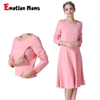 Emotion Moms Long Sleeve Maternity Clothes Nursing Dress Patchwork Breastfeeding Dress for Pregnant Women Maternity dresses