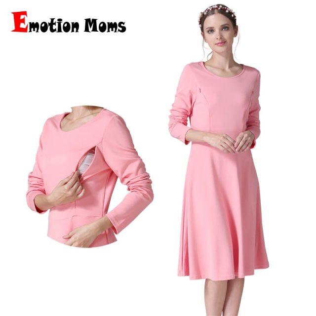 Emotion Moms Long Sleeve Maternity Clothes Nursing Dress Patchwork Breastfeeding Dress for Pregnant Women Maternity dresses