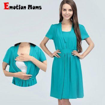 Emotion Moms maternity Clothes Cotton maternity Dress Summer Nursing Dresses Breastfeeding Dress for Pregnant Women feeding