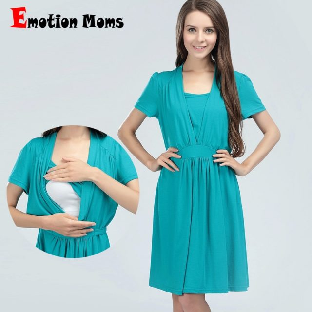 Emotion Moms maternity Clothes Cotton maternity Dress Summer Nursing Dresses Breastfeeding Dress for Pregnant Women feeding