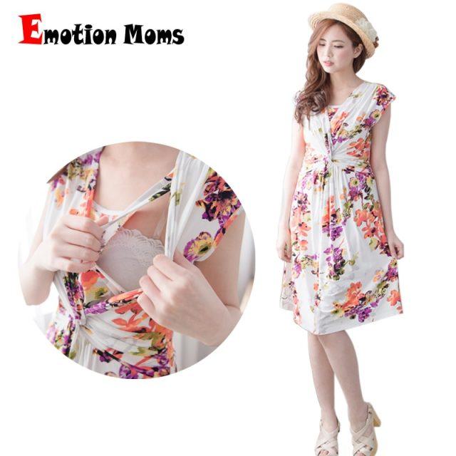 Emotion Moms Fashion maternity pregnancy Clothes nursing dress Breastfeeding Dresses for Pregnant Women Summer nursing clothing