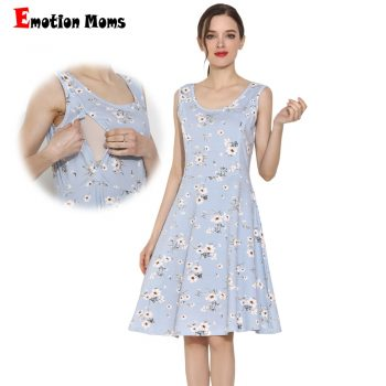 2019 Emotion Moms Summer Maternity Dress Cotton Stretch Floral Breastfeeding Dress Sleeveless Lactation Dress S-XXL
