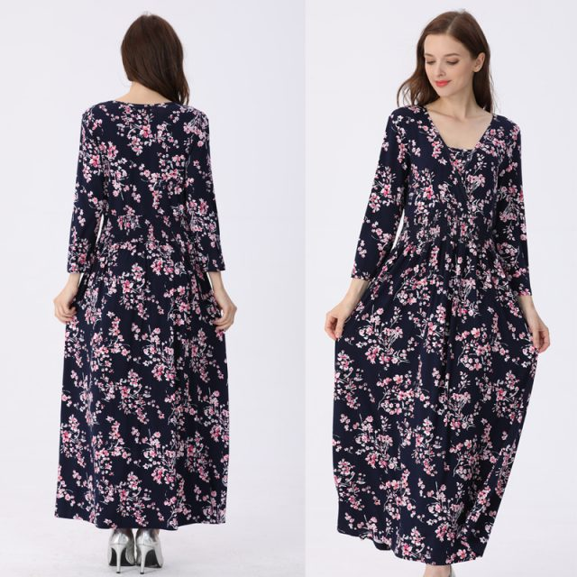 Emotion Moms NEW Floral Cotton Blend Maternity Clothes Lactation Dress Long Breastfeeding Dresses For Pregnant Women