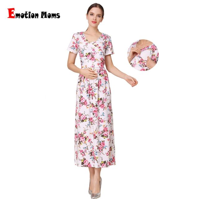 Emotion Moms New Fashion Floral Maternity Clothes for Pregnancy Breastfeeding Dresses for Pregnant Women Maternity Nursing Dress