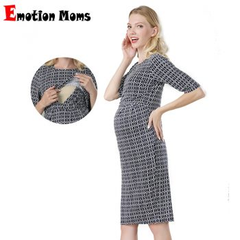 Emotion Moms New Party Maternity Dresses Breastfeeding Clothes Cotton Maternity Clothing for Pregnant Women Summer Nursing Dress