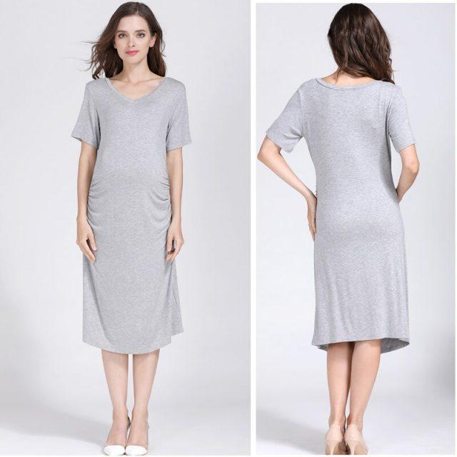 Emotion Moms Short Sleeve Summer Maternity Dresses Pregnancy Middle Dress Gravida Dresses for Pregnant Women