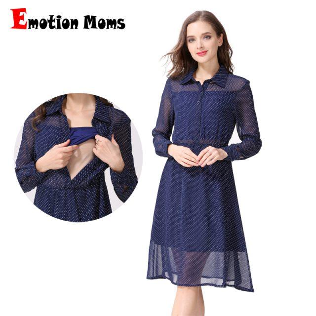 Emotion Moms Long Sleeve Nursing Dress Breastfeeding Dresses for Pregnant Women Maternity Dress Clothing Summer spring