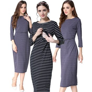 2019 New Spring Striped Maternity Breastfeeding Dresses Pregnancy clothes Women Pregnant Nursing Lactation Dress Drop Shipping
