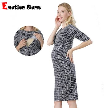 Spring Stretch Cotton Maternity Clothes Half Sleeve Breastfeeding Party Dresses Nursing Dress Big size for Pregnant Women S-XXL