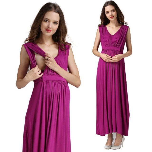 Emotion moms Women's Long Summer Party Evening Dresses  Maternity Nursing Breastfeeding pregnancy Dresses for Pregnant Women