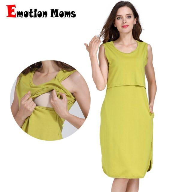 Emotion Moms Summer Cottom Nursing Feeding Dress Maternity Clothes For Pregnant Women Sleeveless Breastfeeding Lactation Wear