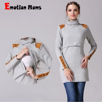Emotion Moms New Turtleneck Maternity clothes nursing dress Breastfeeding pregnancy clothes for Pregnant Women maternity dresses