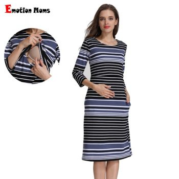 Emotion Moms Cotton Striped Summer Spring Skirt Pregnancy Nursing Dress for pregnant Woman Maternity Dress Breastfeeding Dress