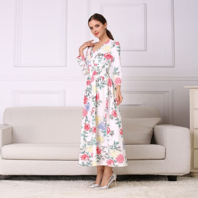 Emotion Moms NEW Floral Cotton Blend Maternity Clothes for Pregnant Women Lactation Dress Long Breastfeeding Dresses